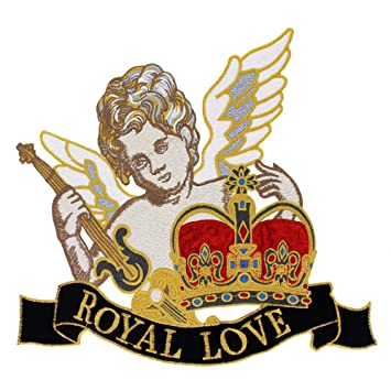 Parches de tela bordados Royal Love Angel Boy Alas Corona para guitarra Applique Insignias grandes para ropa bolsa costura: Amazon.es: Hogar