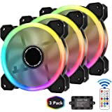 EZDIY-FAB 120mm RGB Case Fan 3-Pack,Quiet Edition High Airflow Adjustable Color LED Case Fan for PC Cases, CPU Coolers with Remote Controller
