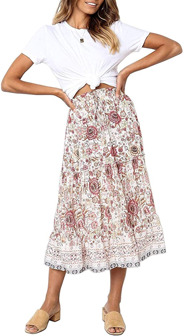 Vintage Skirts | Retro, Pencil, Swing, Boho MEROKEETY Womens Boho Floral Print Elastic High Waist Pleated A Line Midi Skirt with Pockets $27.99 AT vintagedancer.com