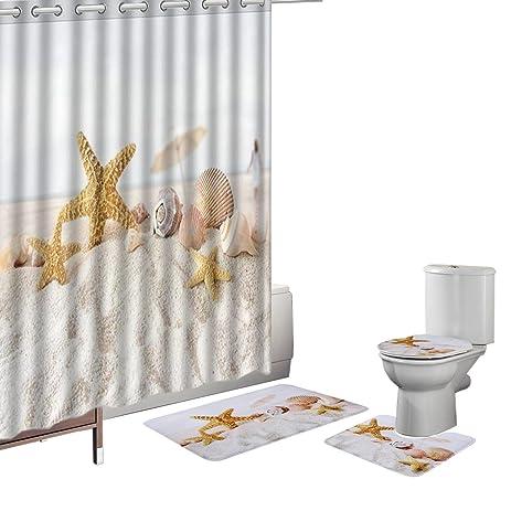 Amazon.com: Amagical 16 Pieces Shower Curtain Set Bath Mat Set ...