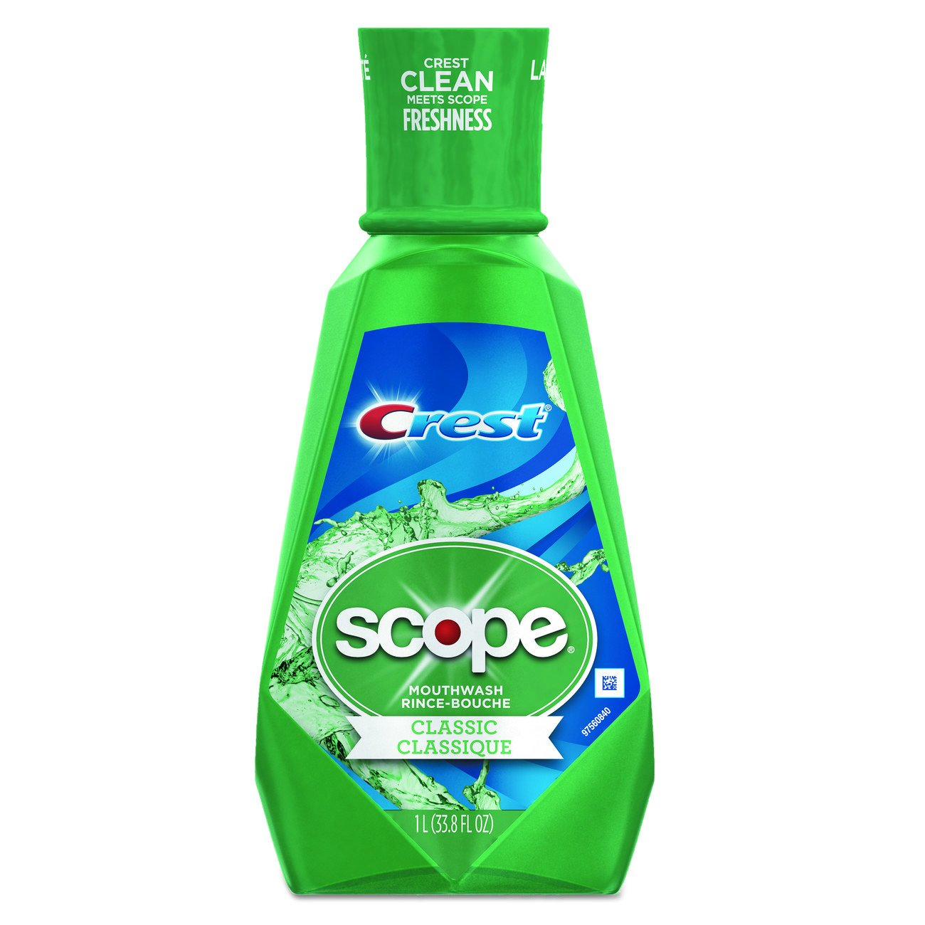Crest Scope Classic Mouthwash for Bad Breath, Mint, 1 Litre