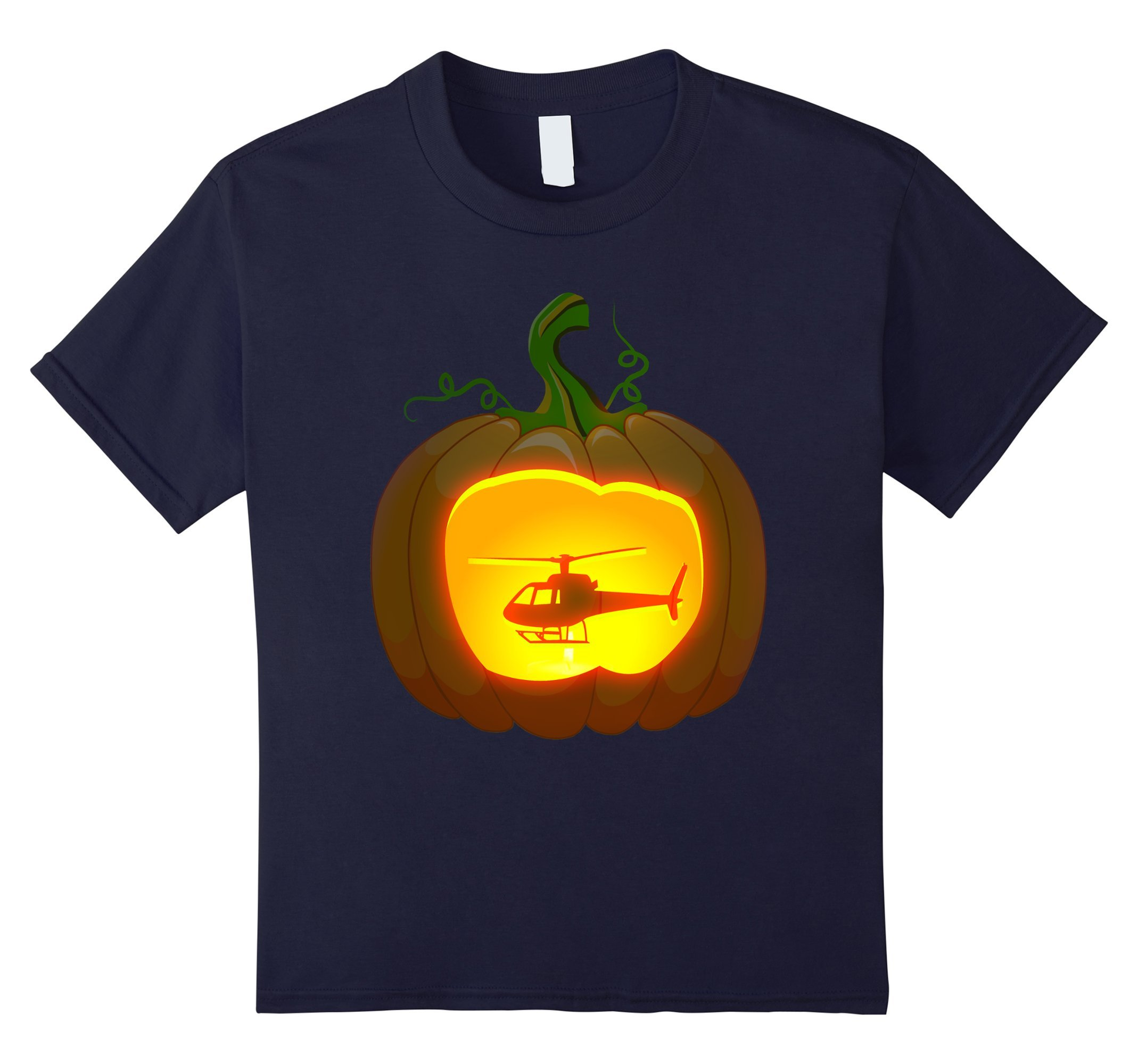 Kids helicopter Pumpkin Halloween shirt 8 Navy