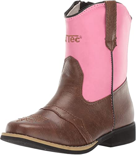 AdTec Girls Western Classic Rodeo Boots with Pointed Toe Pink 6 M US Toddler