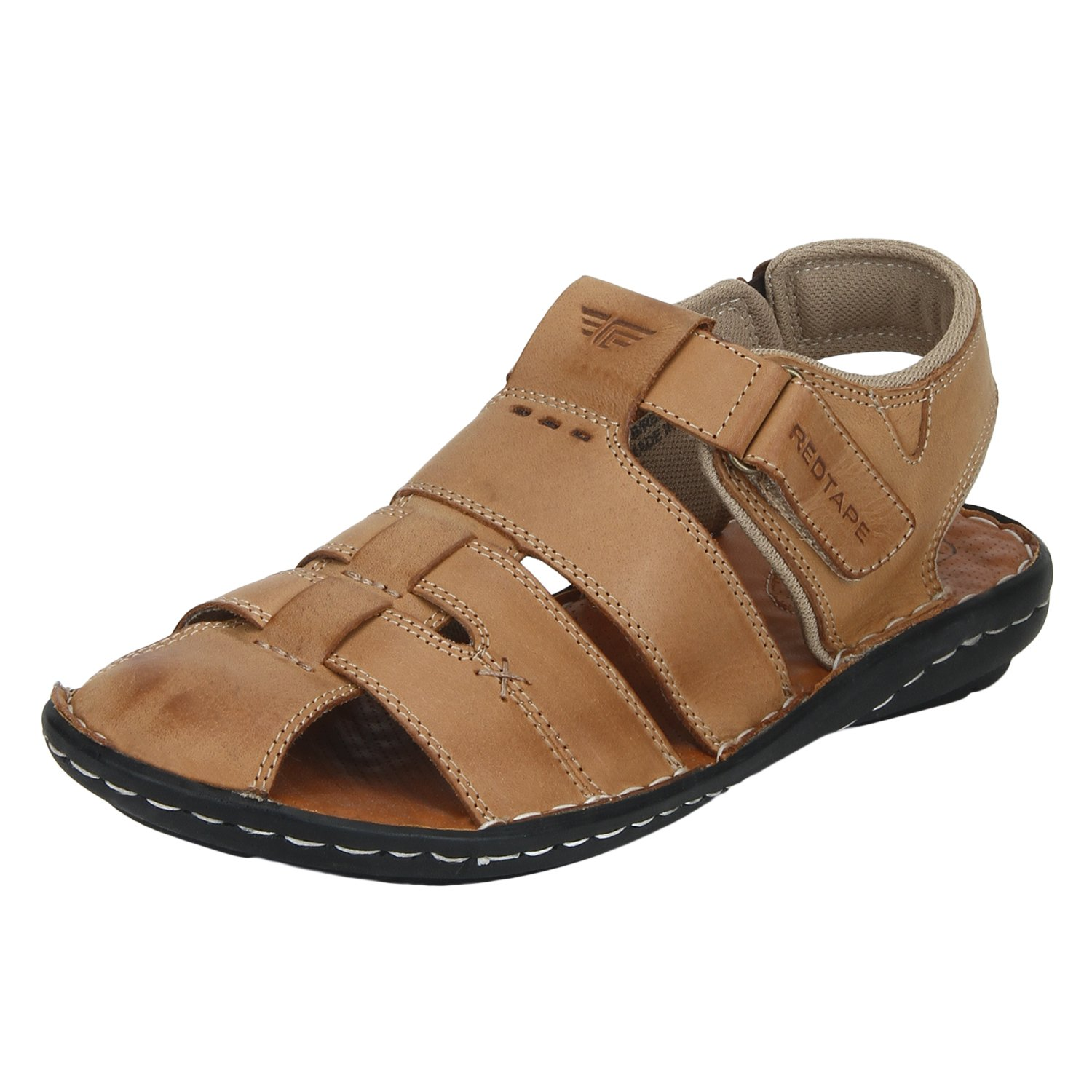 Red Tape Men's Tan Leather Sandals - 10