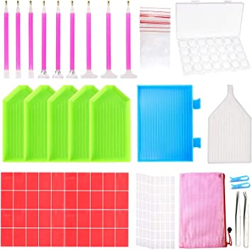 Fixing Tools ICESAR 5D Diamond Painting Tools Kit 28 Slots Diamond Embroidery Storage Box Tweezers Pens Toolbox 49 Pieces DIY Diamond Painting Accessories Pack with Diamond Painting Roller