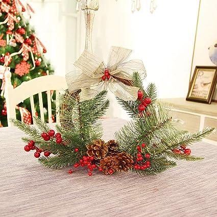 yjydada 25cm christmas wreath door wall ornament garland decoration white bowknot - Amazon White Christmas Decorations