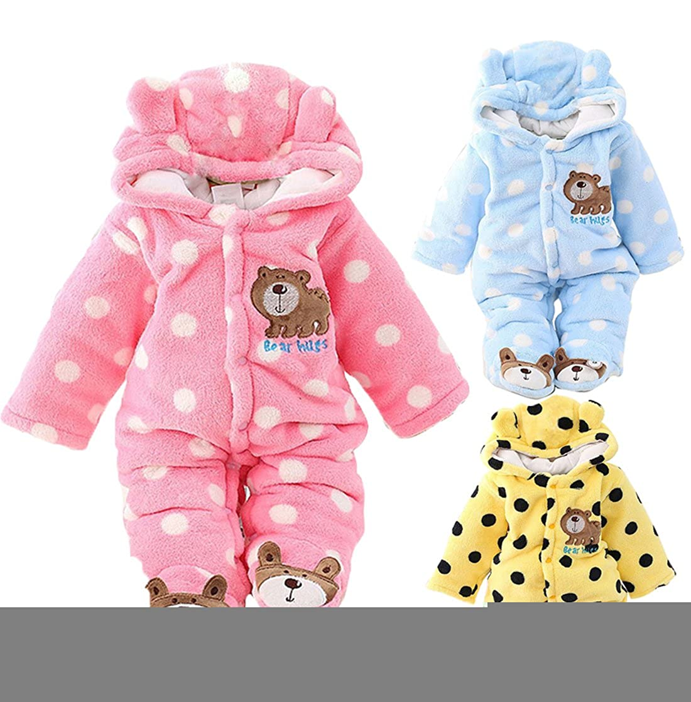 7cde9aa49 Newborn Unisex Baby Winter Jumpsuit Hooded Romper Fleece Onesie All ...
