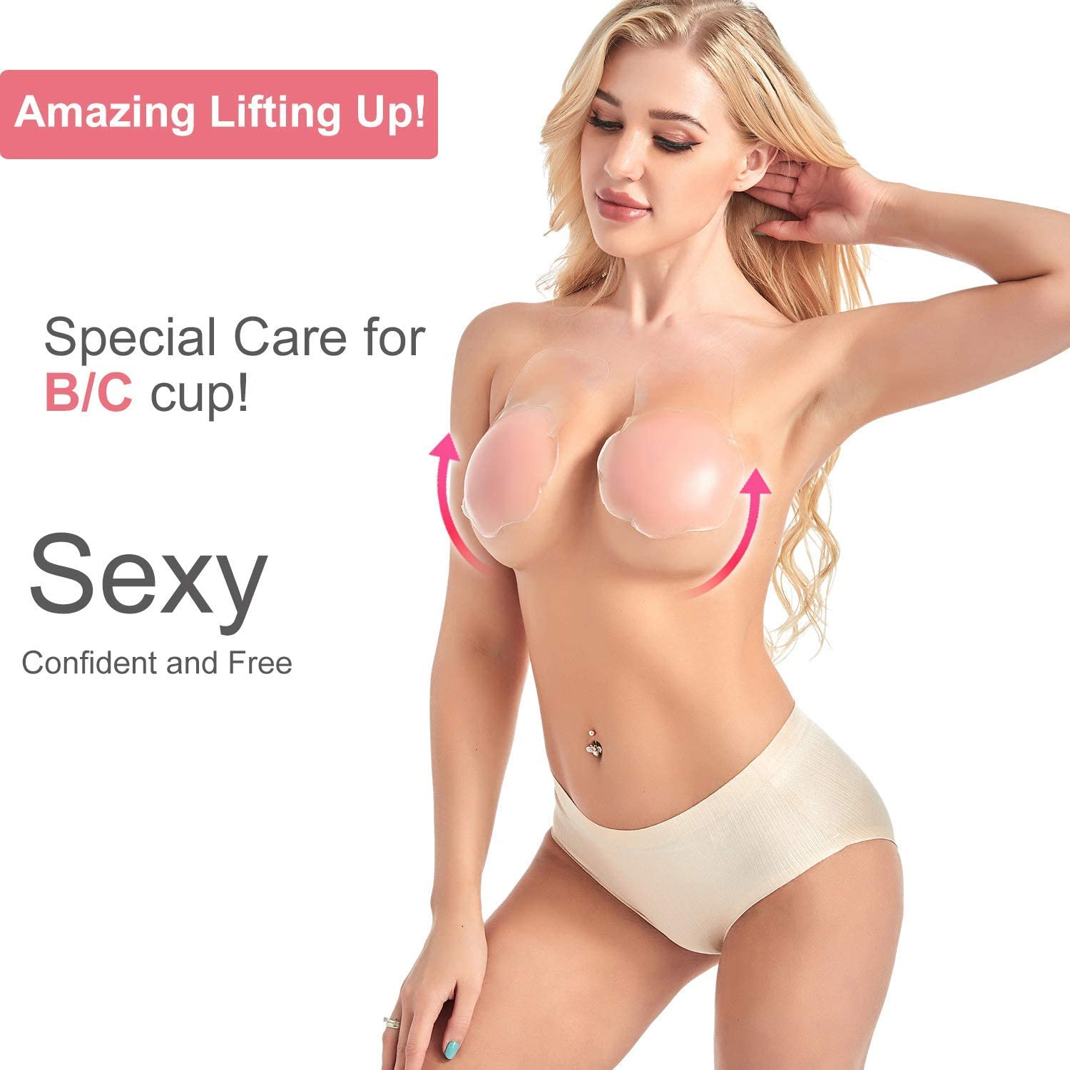 Adhesive Nippleless Covers Extra Thin /& Soft 4.7 Inches BBDINO Invisible Breast Lift Pasties 2 Pairs Silicone Invisible Lift Up Bra
