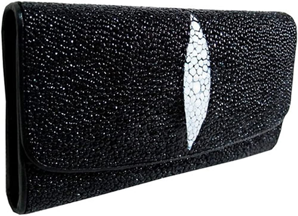 Stingray Leather Deluxe Tri-fold Wallet in Black