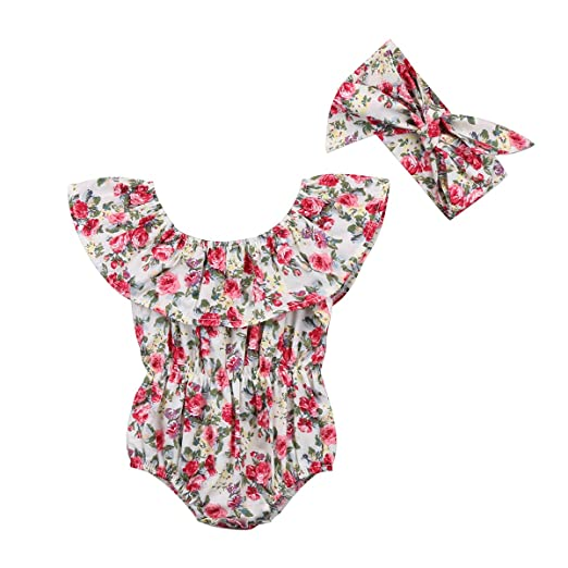 Bodysuits Newborn Infant Baby Girl Floral Clothing Cotton Bodysuit Summer Toddler Jumpsuit Playsuit Fancy Clothes Bodysuits & One-pieces
