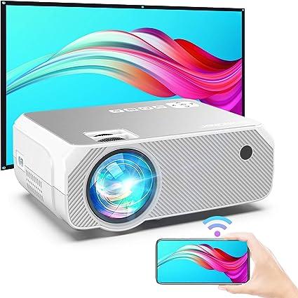 Proiettore WiFi Nero per iPhone//Android//Laptop//Lettori DVD//Win10 Mirroring Schermo Wireless e Miracast Videoproiettore Portatile da Esterno BOMAKER 5500 Lumens Nativo 720P Supporto Full HD 1080P