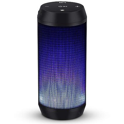 Enceinte Bluetooth Portable Lumineuse Haut-Parleur Bluetooth sans Fil avec LED Lumière Radio FM Fonction TF Carte TEL ELEHOT