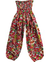 Indian Cotton Pink and Black Floral Print Bohemian Yoga Harem Gypsy Pants