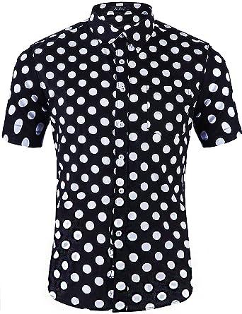 e7f9859b4da3db XI PENG Men s Casual Dress Cotton Polka Dots Short Sleeve Fitted Button  Down Shirts (Small