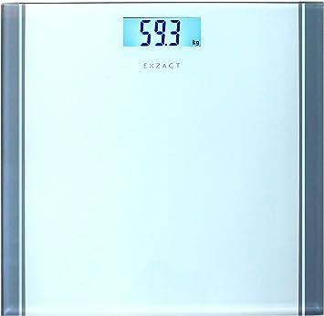 Exzact Báscula Corporal Electrónica/Báscula de Baño Digital/Escala Personal - 180kg - Exhibición del LCD de la contraluz (Blanco): Amazon.es: Hogar