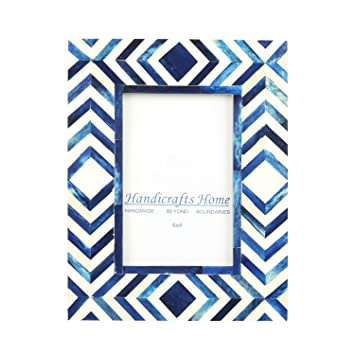 Amazon.com - Handicrafts Home 4x6 Photo Frame Blue White Bone Mosaic ...