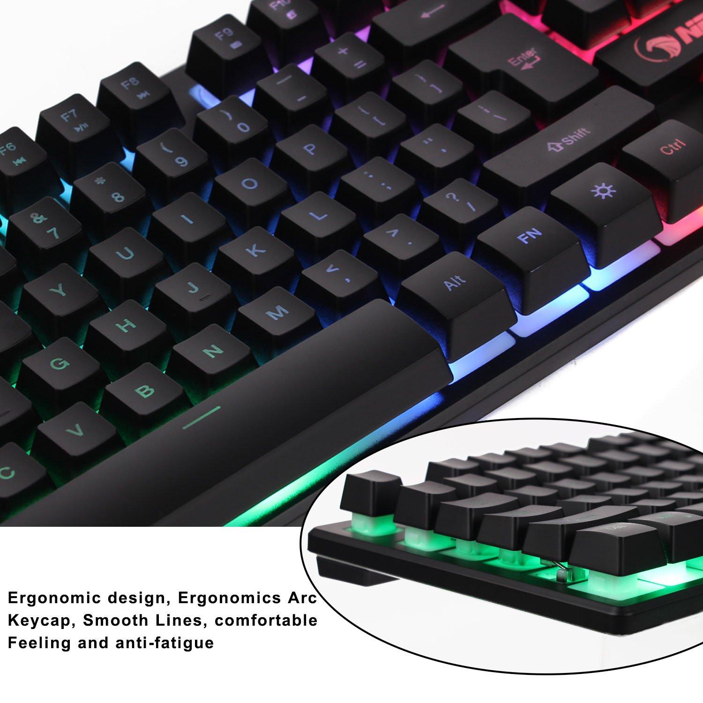 amazon com npet k10 wired backlit floating gaming keyboard