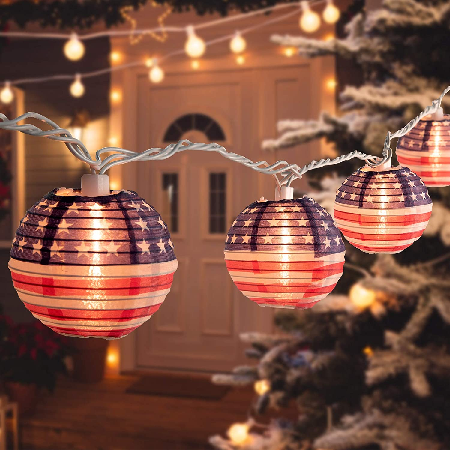 Christmas Lantern String Lights 6.7 Feet 10 Nylon Collapsible Mini American Flag Lantern Lights, Hanging Waterproof Connectable for Room Decor Garden Patio Outdoor Holiday Time Decorative, Warm White