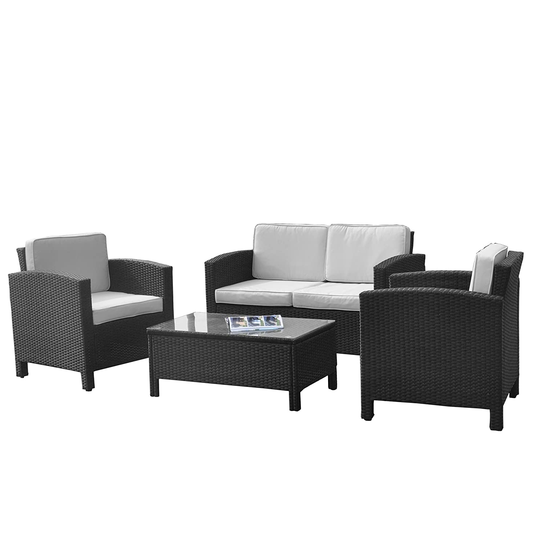 XINRO® 13tlg. Polyrattan Loungemöbel Set Gruppe Garnitur Gartenmöbel Rattan Lounge Set Polyrattan Sitzgruppe - inkl. Loungesofa + Loungesessel + Loungetisch + Glasplatte - handgeflochten - schwarz