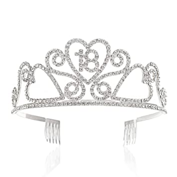 Amazon SWEETV Rhinestone Tiara Birthday Crown Princess Party Hat Hair Accessories 15 16 18 21 30 40 50 60 70th Gift 18th Beauty