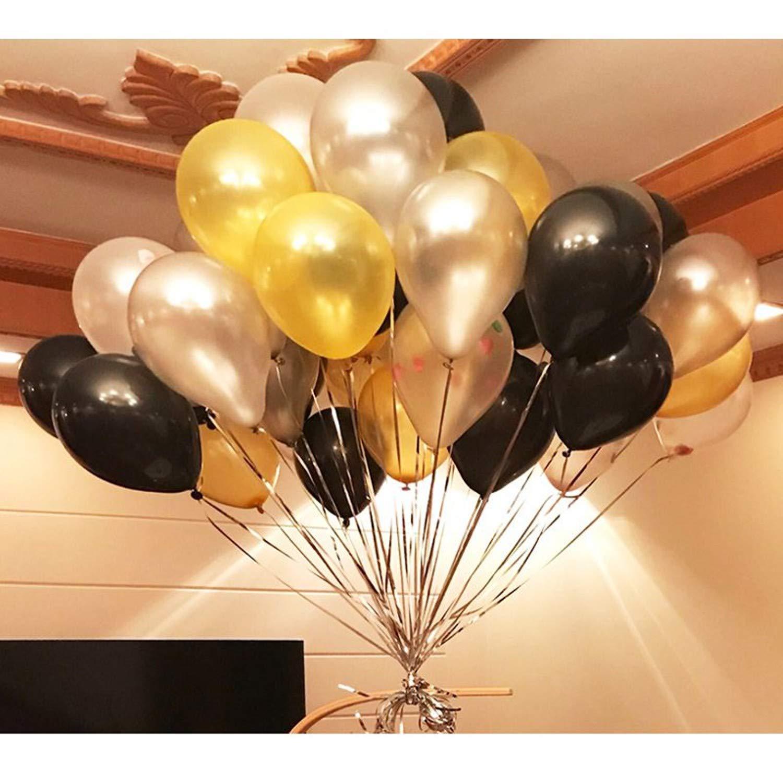 BELLE VOUS Latex Ballons (12 inch) - 34 Or, 34 Noir, 34 Blanc Balons avec 3 Balons Coeur Doré s en Aluminium pour Les Mariage, Remises de Diplô mes, Fê te D' Anniversaire Accessoires de Dé coration Remises de Diplômes