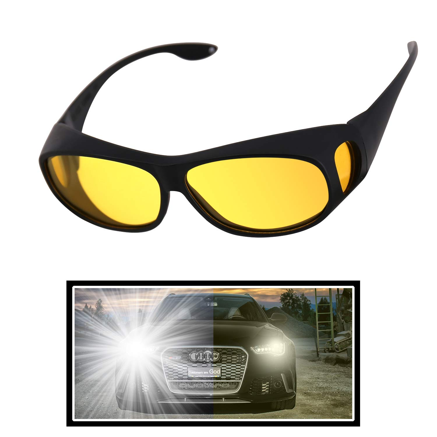 GLTECK Night Driving Glasses, Anti Glare Night Vision Glasses HD Polarized Yellow Tint Fit Over Wrap Around Prescription Eyewear for Men Women by GLTECK