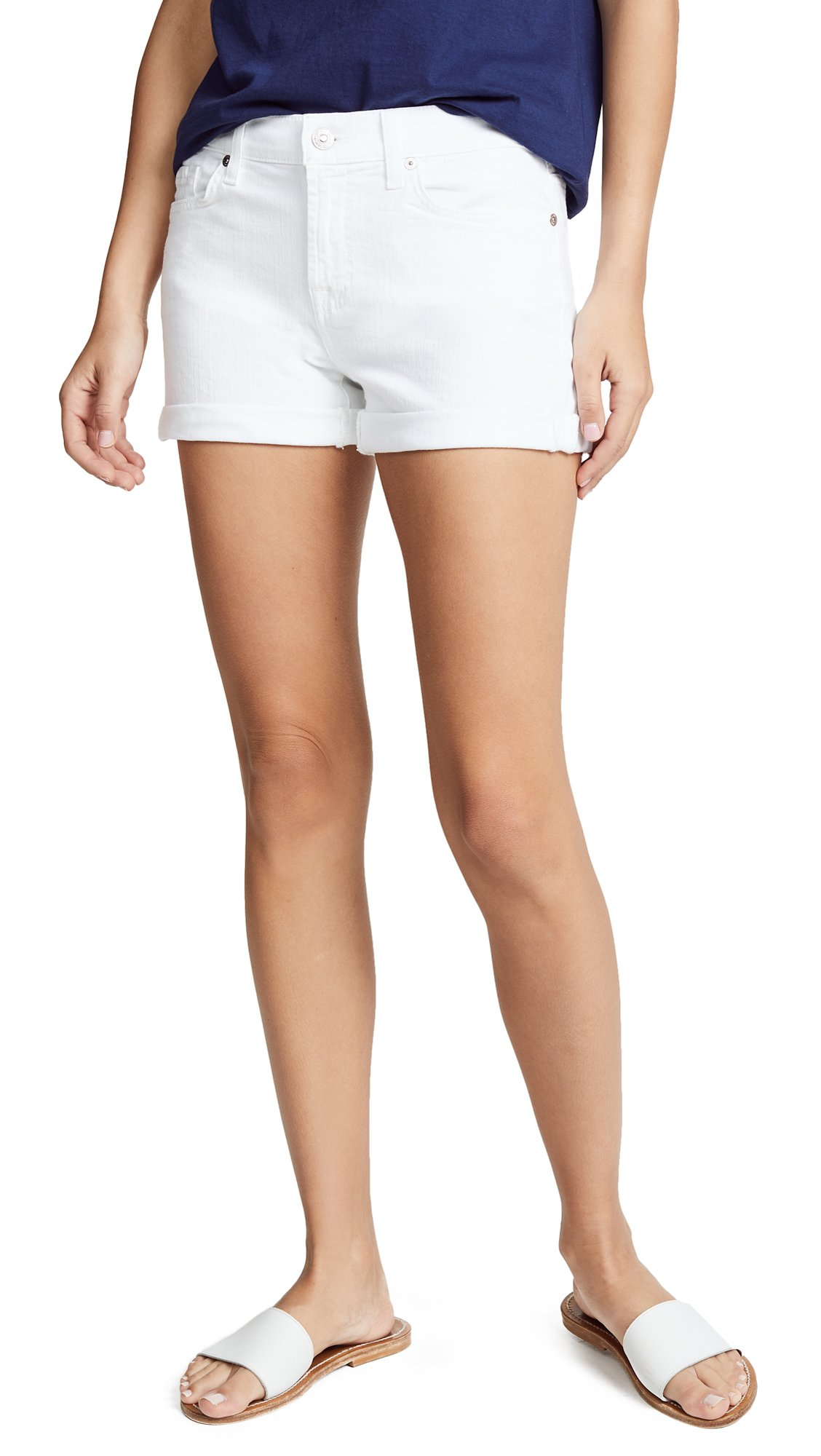 7 For All Mankind Women's Roll Up Short, Clean White, 23