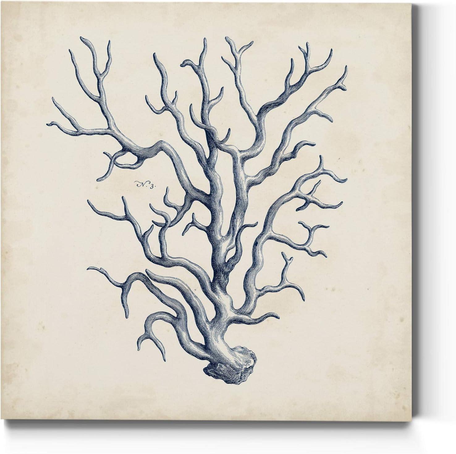 Neutral Color Wall Art, Wall Décor Canvas, Beaches, Floral, Animals, Bohemian, & Vintage Styles, Ready to Hang -Coral Trio in Indigo III 10X10