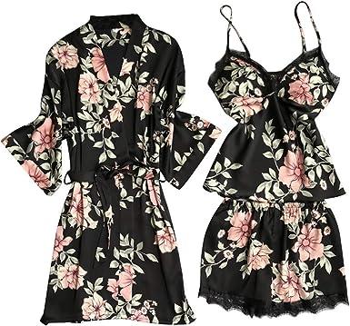 3Pcs Womens Cotton Pajama Set Girls Cute Lace Sleepwear Nightgown Short Sleeve