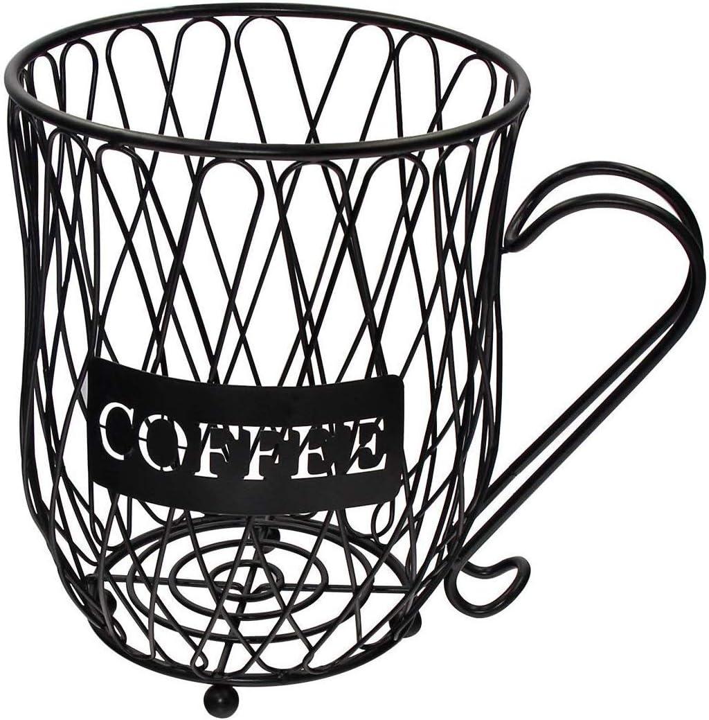 PeiSean Coffee Pod Holder,Large Capacity Coffee Storage Carousel Holder Organizer, Cup Keeper Coffee & Espresso Pod Holder, Iron Coffee Pods Storage Basket