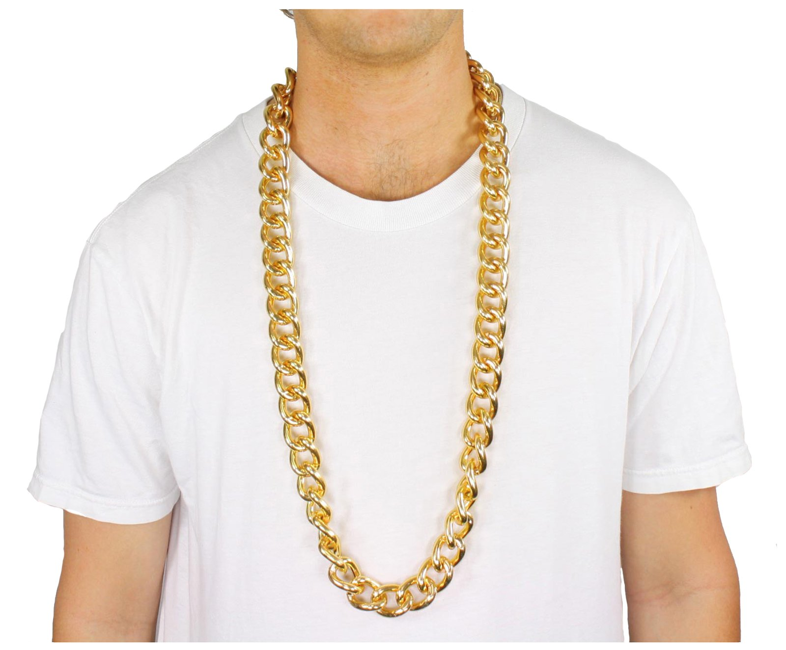 40'' Thick Gold Metal Link Chain Necklace Old School Rapper Costume Bling!!