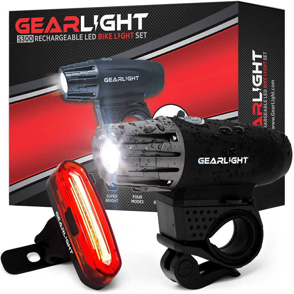 GearLight S300 Rechargeable LED Bike Light Set - High Lumen Front and Back Rear Cycling Safety Lights - Best All-Weather USB Headlight and Tail Light for Kid and Adult Bicycles