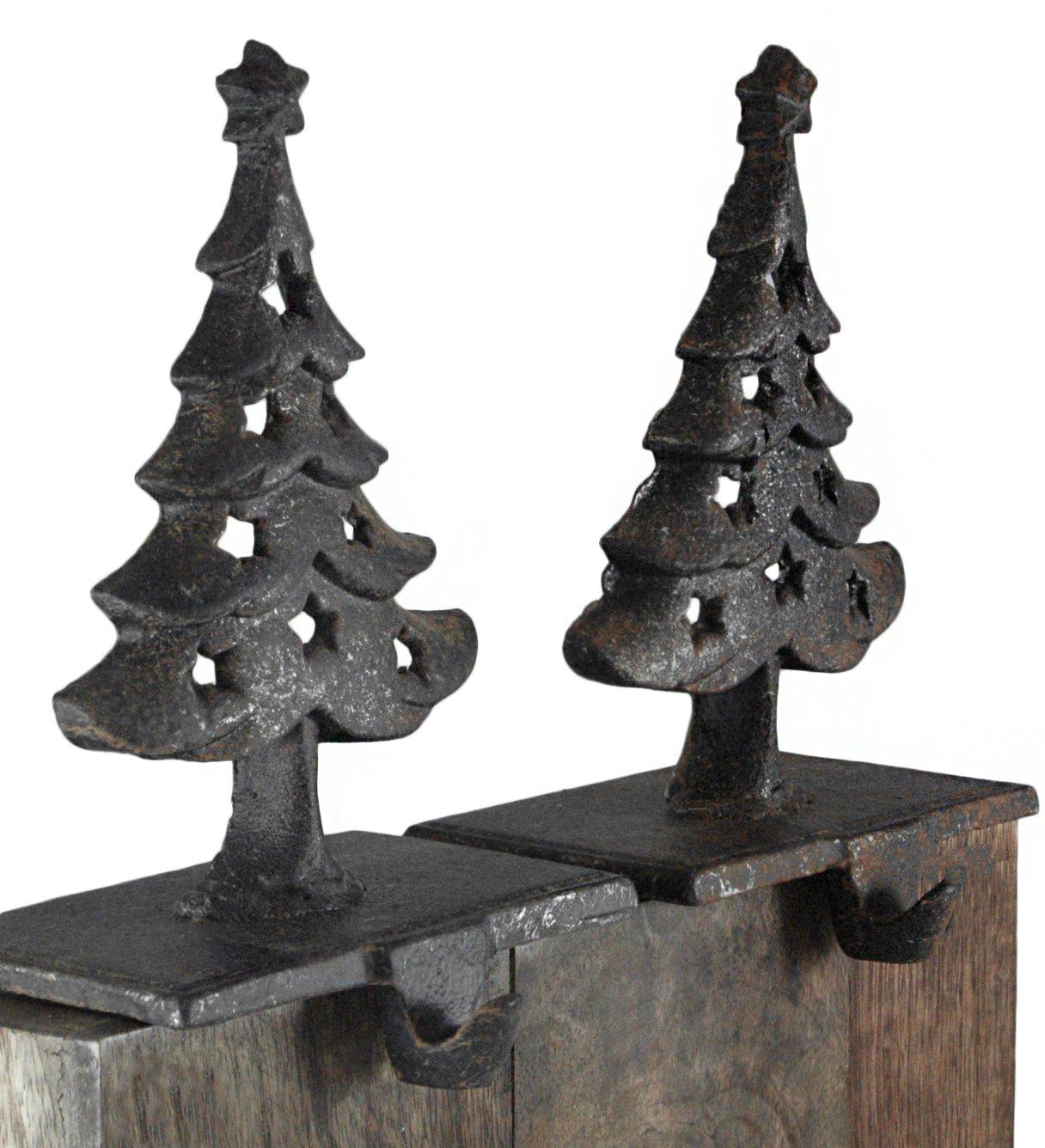 Creative Co-op Christmas Trees Cast Iron Christmas Stocking Holder Set of 2