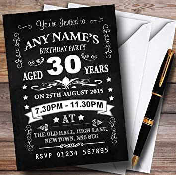 30th Birthday Invites Vintage Chalkboard Style Black And White 30Th Party Personalised Invitations With Envelopes