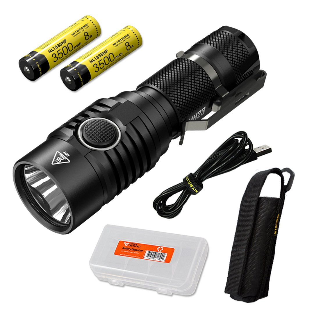 NITECORE MH23 1800 Lumen USB Rechargeable Compact Flashlight with 2x 3500mAh 8A 18650 Rechargeable High Performance Battery and Lumen Tactical Battery Organizer