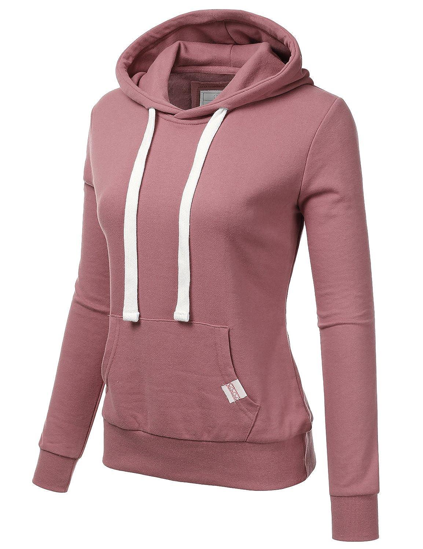 60f58ca1fd83 Amazon.com  Doublju WoWomeeens s Basic Lightweight Pullover Hoodie  Sweatshirt with Plus Size  Clothing