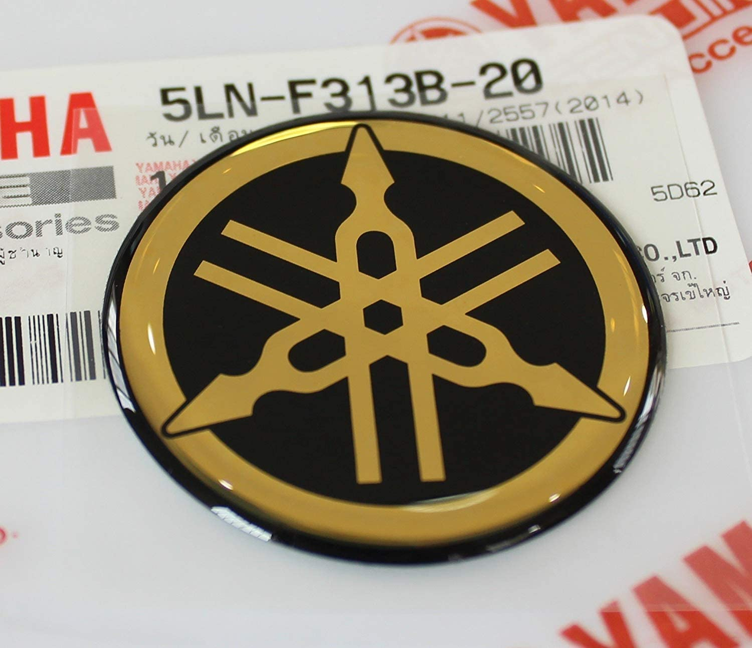 YAMAHA 100/% GENUINE 25mm TUNING FORK BLACK//GOLD DECAL EMBLEM STICKER BADGE