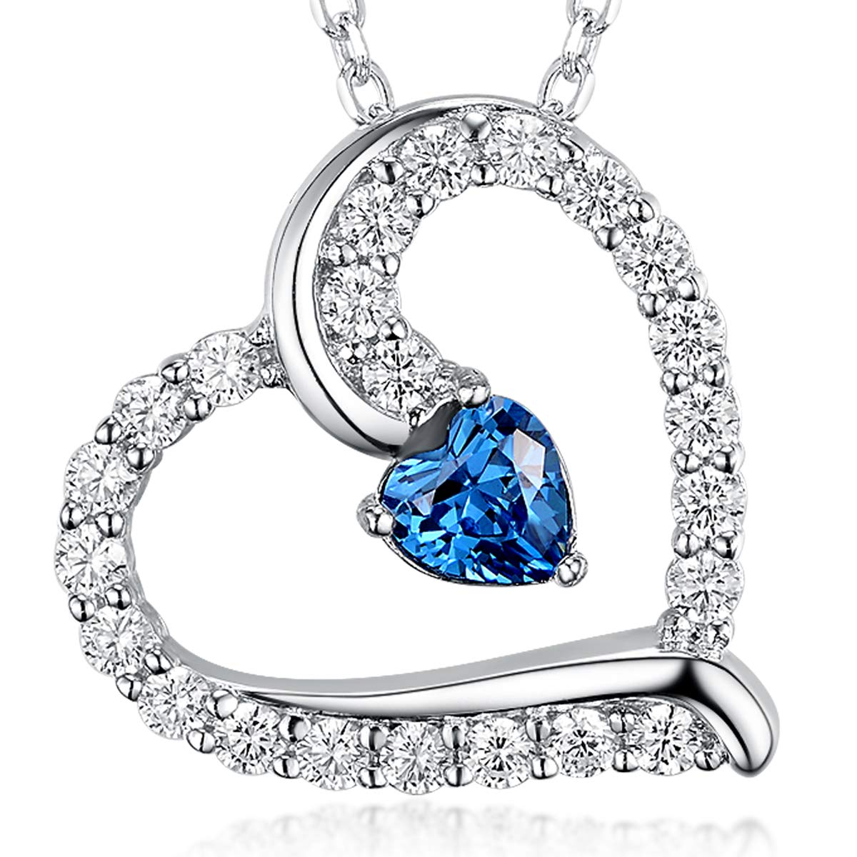 Re Besta Love Heart Pendant Necklace Created Blue Sapphire September Birthstone Fine Jewelry Birthday for Women Her Girlfriend Daughter Sterling Silver 18''+2'' Chain