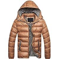BIKETAFUWY Chaqueta de entretiempo para hombre, chaqueta acolchada para otoño, cuello alto, capucha, chaqueta de…