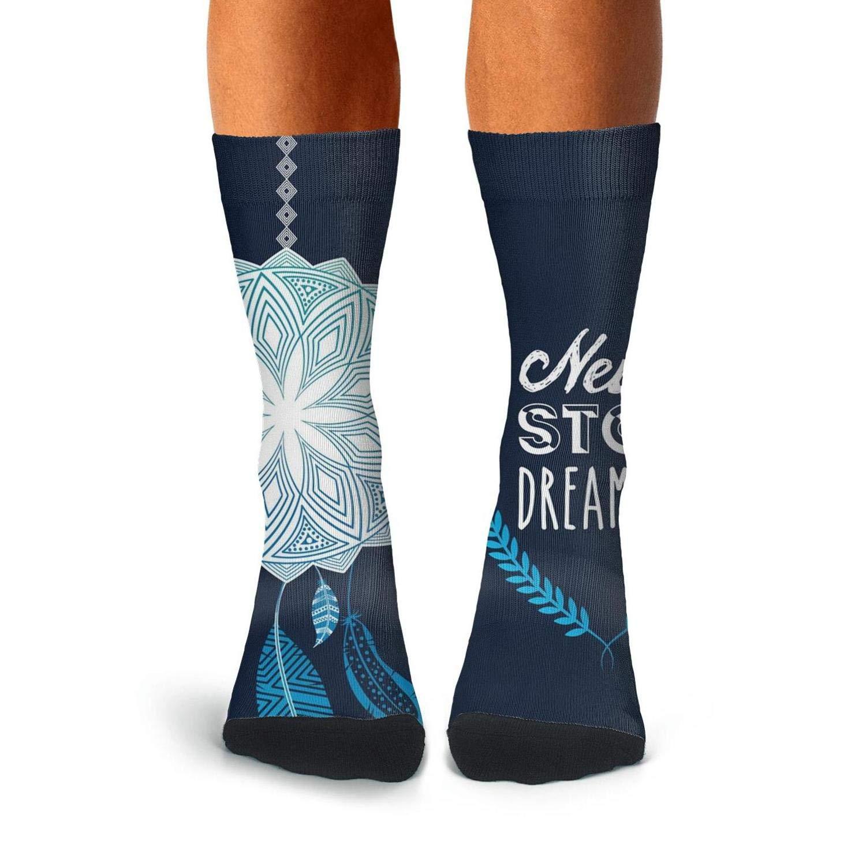 Knee High Long Stockings KCOSSH Never Stop Dreaming Novelty Calf Socks Pattern Crew Sock For Men