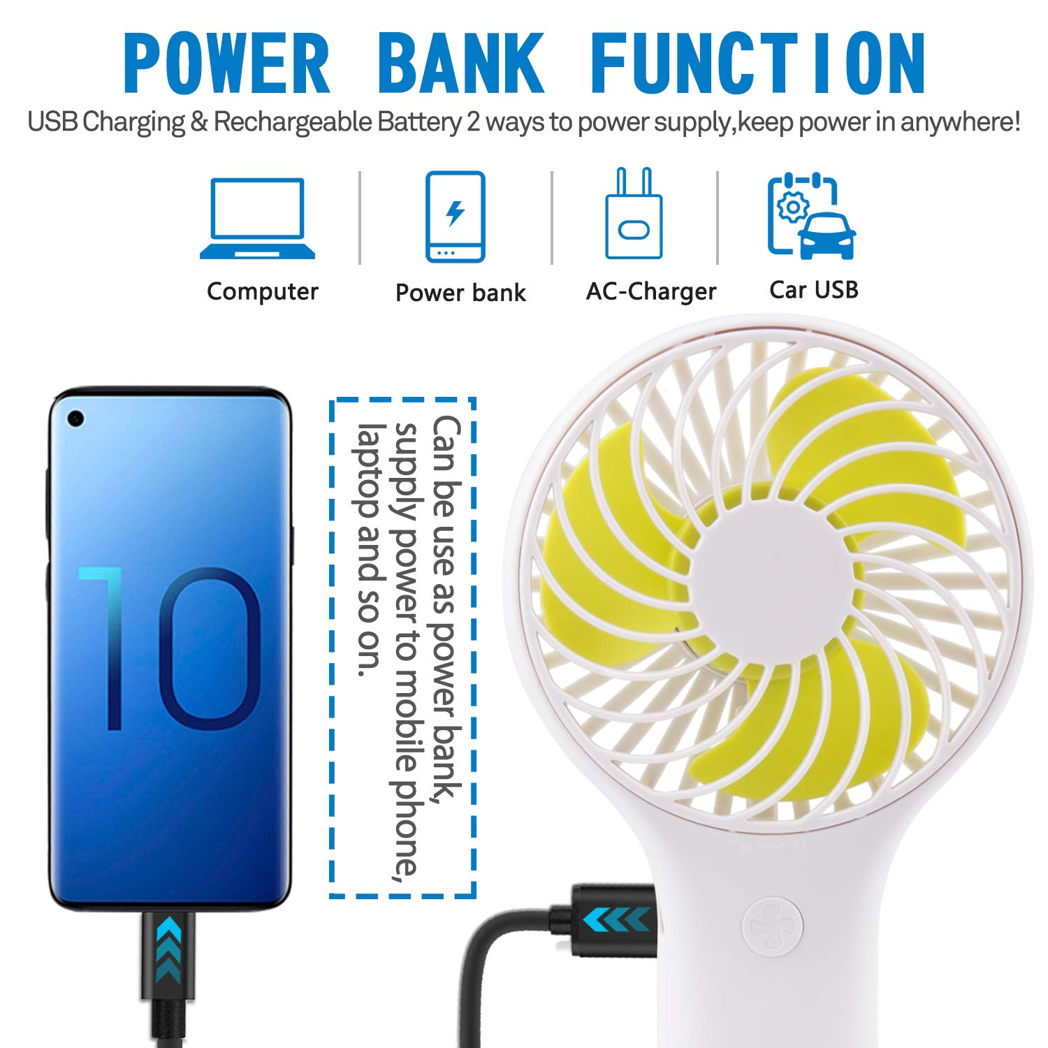 JOEYOUNG Portable Mini Handheld Fan 4000mAh USB Personal Fans with Rechargeable Batteries Quiet Working Mini Fan for Office Home Travel