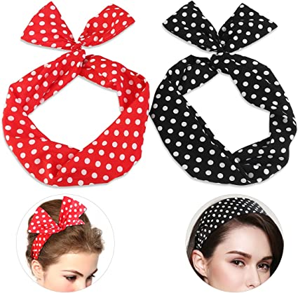 Tie Up Hair Scarf Bandanna Pin Up Scarf Rockabilly Headband Stretchy Hair Tie