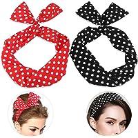 Pixnor 2 bandeaux de cheveux à pois polka rockabilly - Fil flexible - A nouer en oreilles de lapin - serre-tête à nœud - Bijou de cheveux - Cadeau