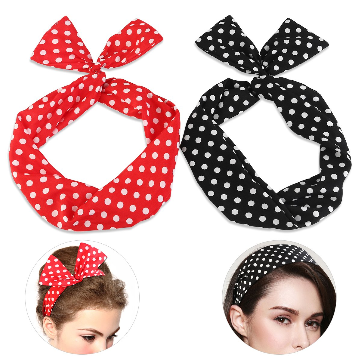 Pixnor Wire Headband Retro Bowknot Polka Dot Wire Hair Holders For Women And Girls, Pack Of 2 by Pixnor