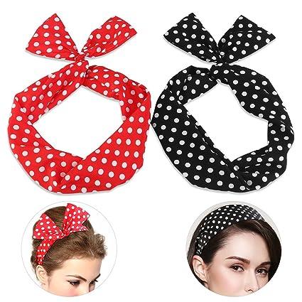Amazon.com  Pixnor Twist Bow Wired Headbands Scarf Wrap Hair ... e0efbed2bd5
