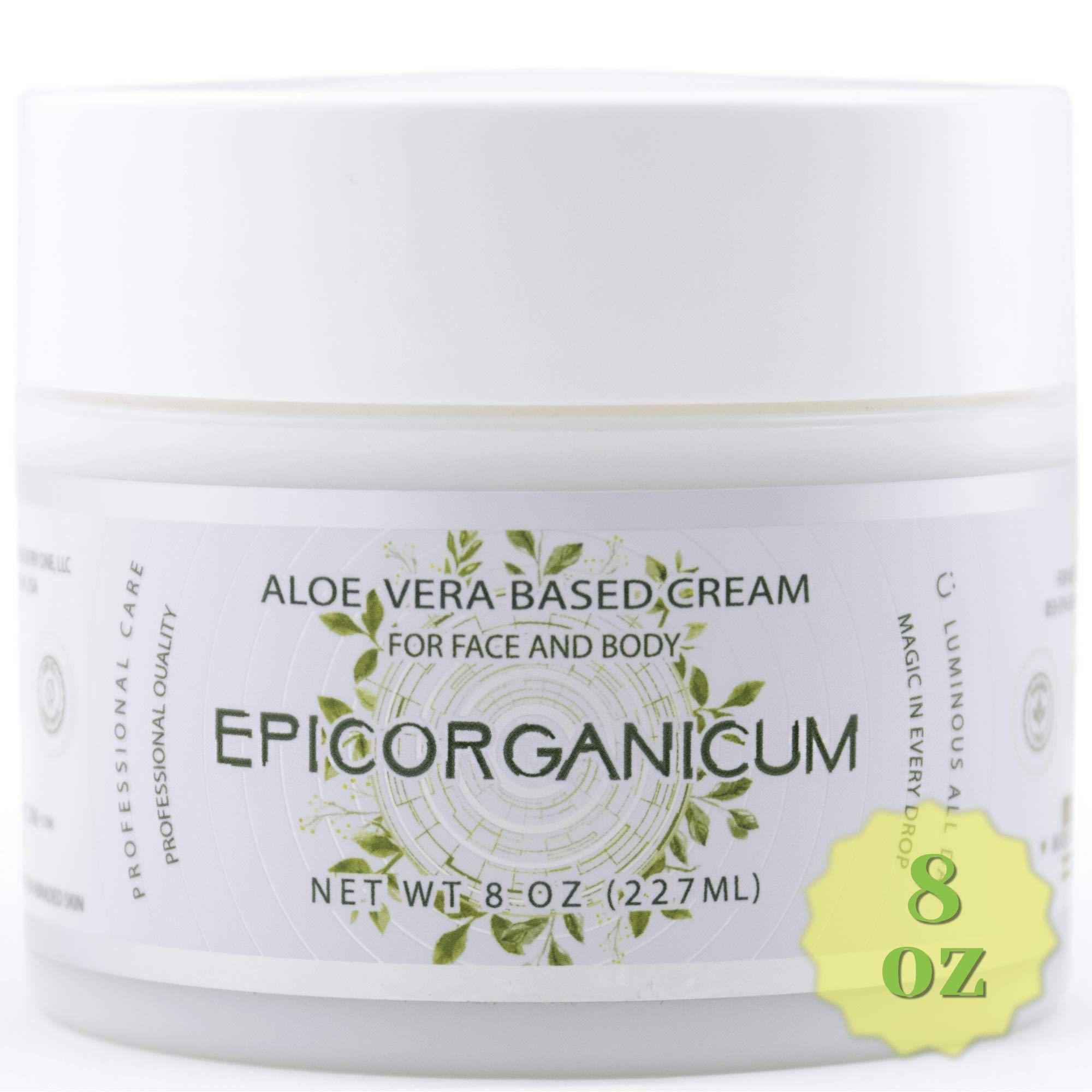 Organic Aloe Vera Moisturizing Cream Body and Face Moisturizer For Acne, Psoriasis, Rosacea, Eczema, Aging, Itchy Dry or Sensitive Skin Care Cream, 8 oz Skin Care Face Natural Cream (8 OZ) by Epic Organicum