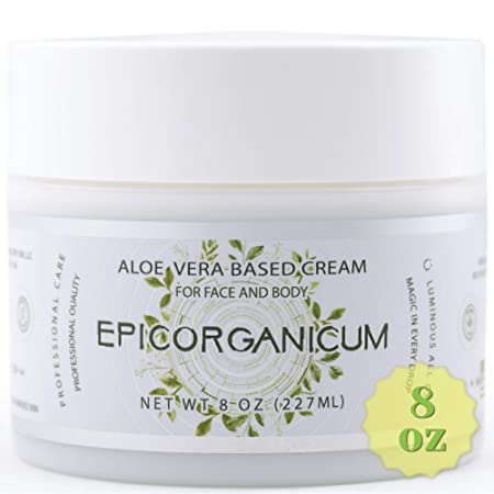 Organic Aloe Vera Moisturizing Cream Body and Face Moisturizer For Acne, Psoriasis, Rosacea, Eczema, Aging, Itchy Dry or Sensitive Skin Care Cream, 8 oz Skin Care Face Natural Cream 8 OZ