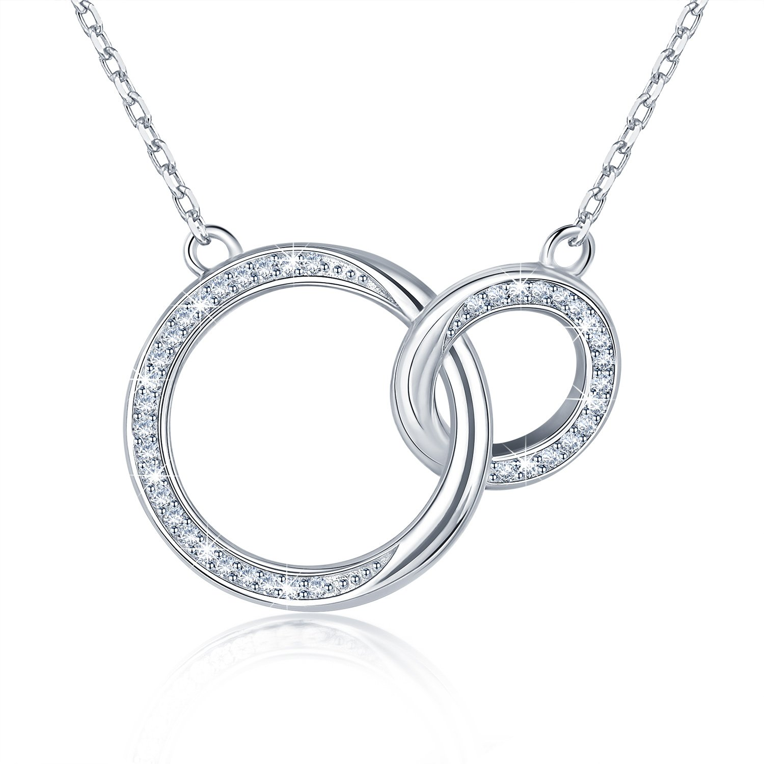 BlingGem Mother and Daughter Necklace in 18K White Gold Plated 925 Sterling  Silver Necklace for Women 2 Generations Infinity Circles Rings Zircon