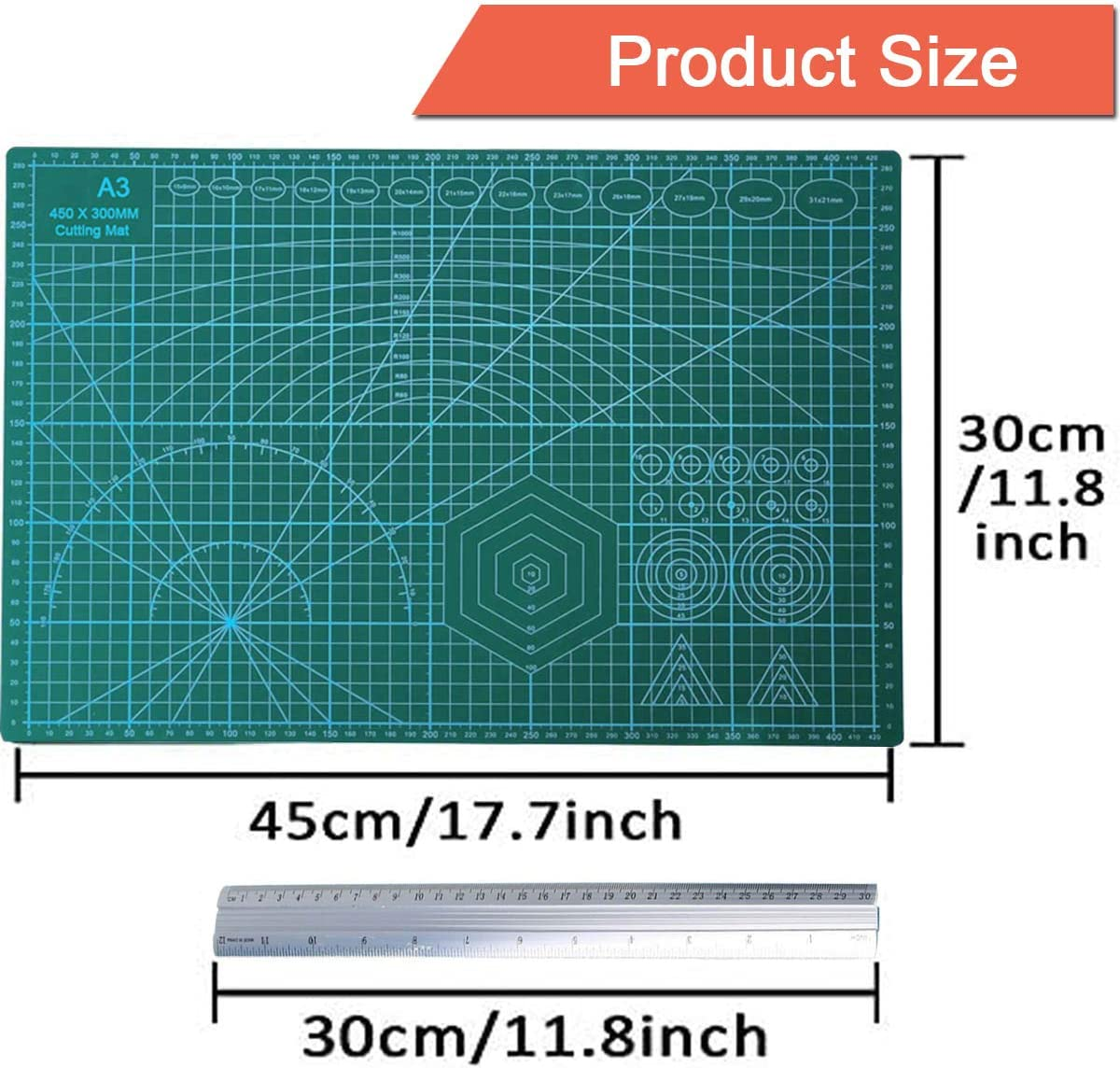 Schnitzen von Bastelpapier zum Schneiden von Stoff Modellbau Schneidematte Nachzeichnen und Zeichnen Negativfilmschneiden Schreiben YFKJEU Schneidematten-Set Aluminium Lineal 30cm