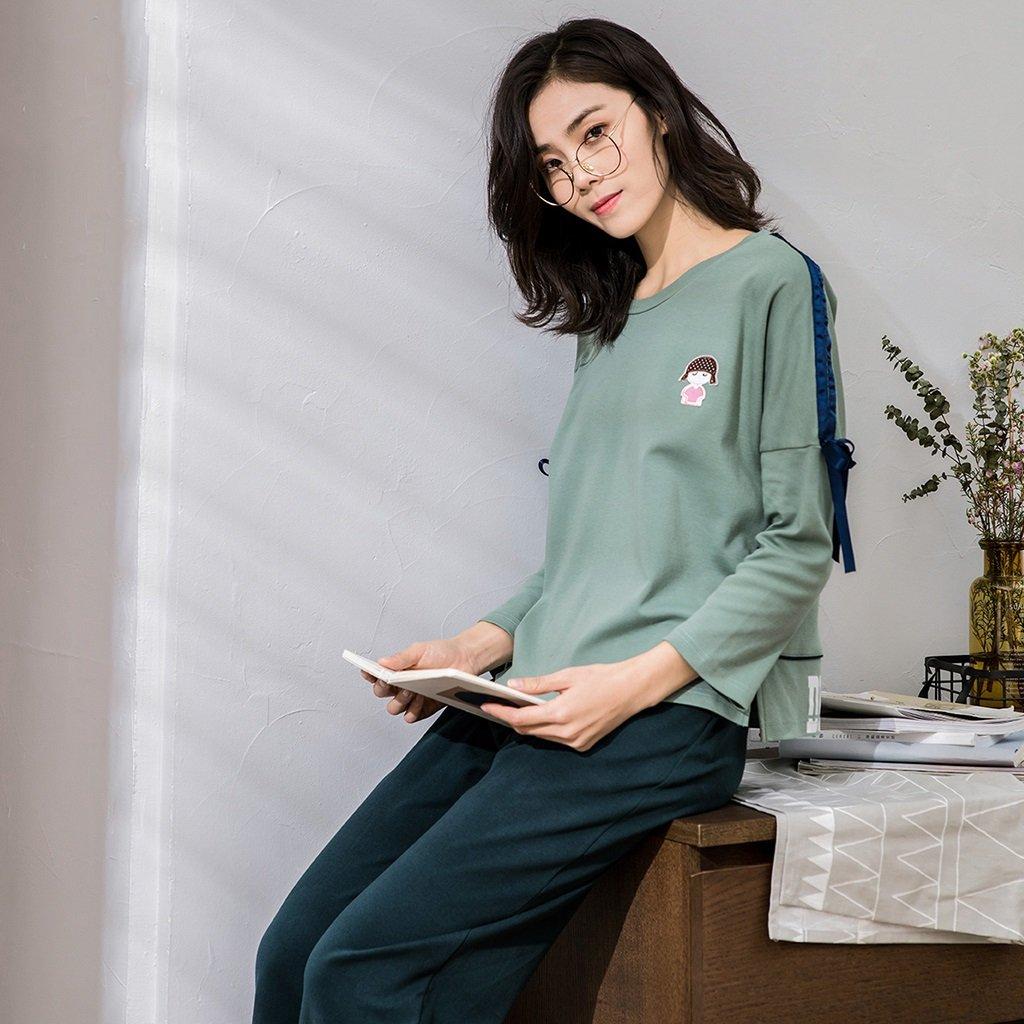 buy popular a89b7 052a3 Frühling Baumwolle Damen langärmelige Pyjamas einfache Mode ...